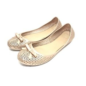 Melissa Gold Jelly Shoes Bow Flats Perforated 8